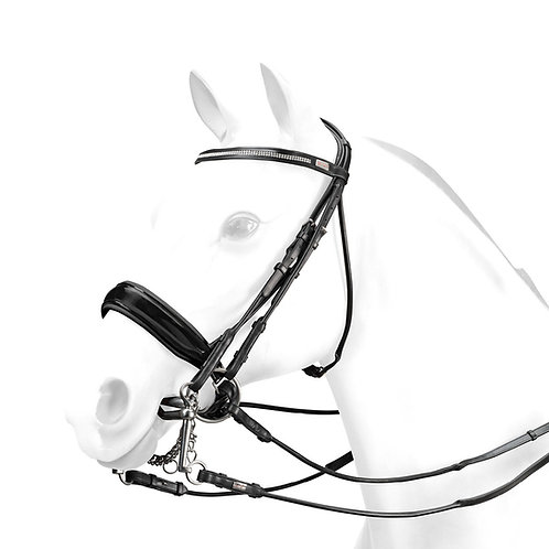 Rolled Double Bridle with Svarowski browband, Brown, XF