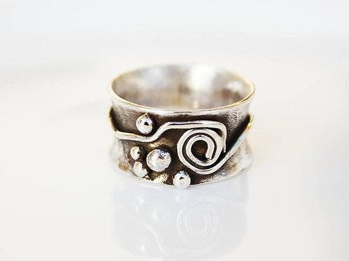Ασημένιο δαχτυλίδι -αφηρημένο σχέδιο D38