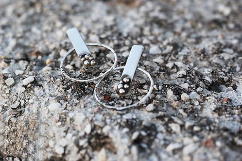 Ασημένια σκουλαρίκια σφυρήλατοι κύκλοι EA24