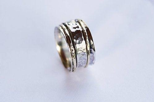 Ασήμι / χρυσός 14κ -σφυρήλατο δαχτυλίδι -spinner ring  D58