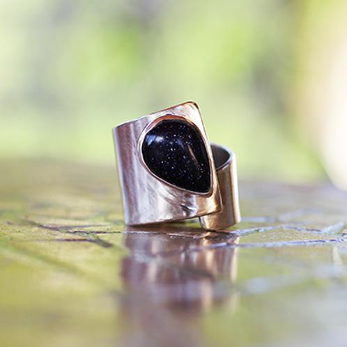 Ανοιχτό Ασημένιο δαχτυλίδι με Όνυχα (black onyx)  D27