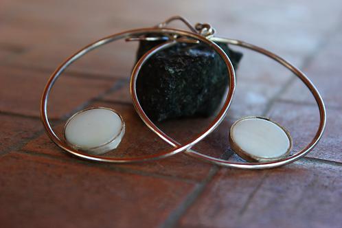 Ασημένια σκουλαρίκια ,κρίκοι-sea shell stone  EA26