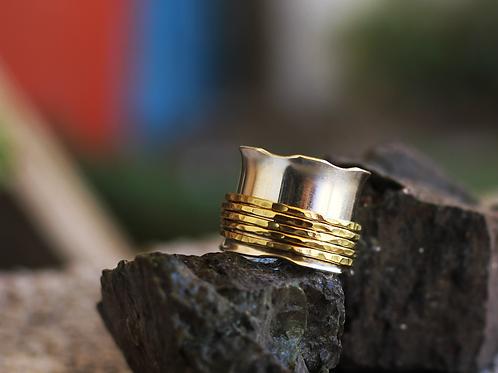 Ασήμι-Χρυσός 14κ -Φαρδύ ασημένιο δαχτυλίδι με 5βέργες-spinner ring D71