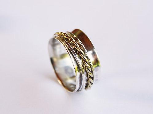 Ασημένιο δαχτυλίδι με χρυσαφί πλεξίδα -spinner ring  D86