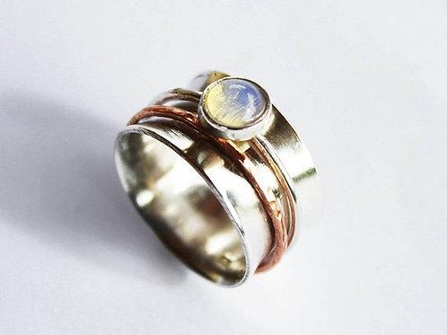 Ασημένιο δαχτυλίδι με 0,8cm Οπάλιο-Spinner ring D46