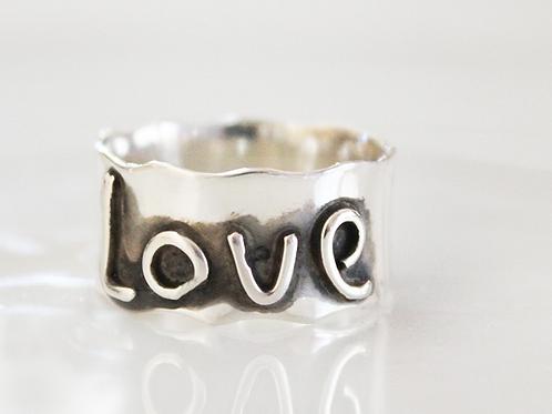 Ασημένιο δαχτυλίδι με λέξη επιλογής σας! D83