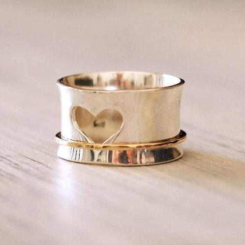 Ασημένιο δαχτυλίδι καρδιά με χρυσό δαχτύλιο 14Κ -spinner ring D23
