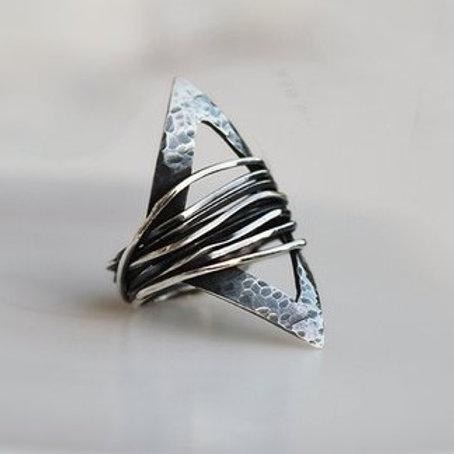 Γεωμετρικό ασημένιο δαχτυλίδι με οξείδωση D50
