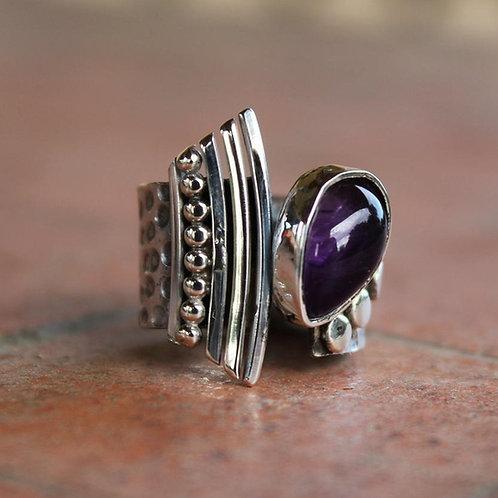 Ασημένιο statement δαχτυλίδι-πέτρα αμέθυστος D86