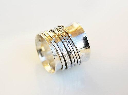 Φαρδύ ασημένιο δαχτυλίδι με 7 δαχτυλίδια-spinner ring D15