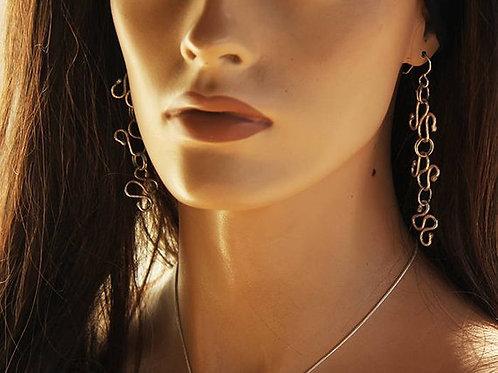 Ασημένια Μακριά σκουλαρίκια-τύπου αλυσίδα  EA21
