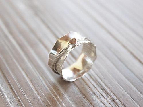Ασημένιο δαχτυλίδι καρδιά -spinner ring D76