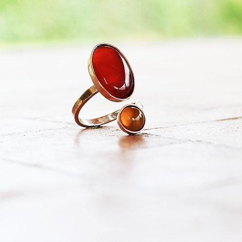 Ασημένιο δαχτυλίδι με Κορνεόλιο και Αχάτη  D78