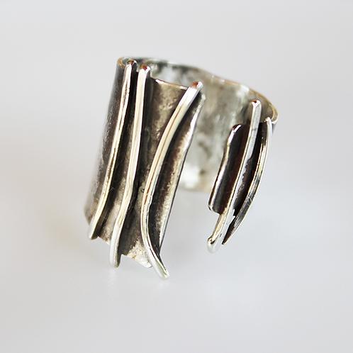 Ασύμμετρο ασημένιο δαχτυλίδι D25