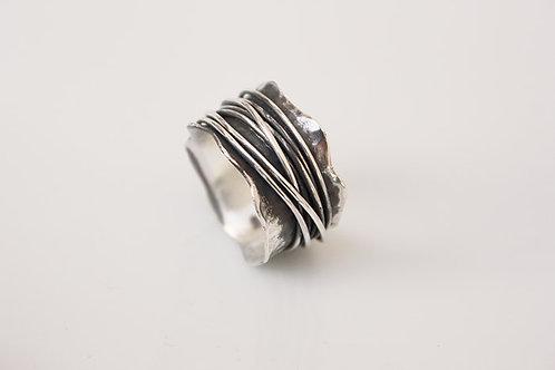 Ασημένιο δαχτυλίδι με οξείδωση  D88
