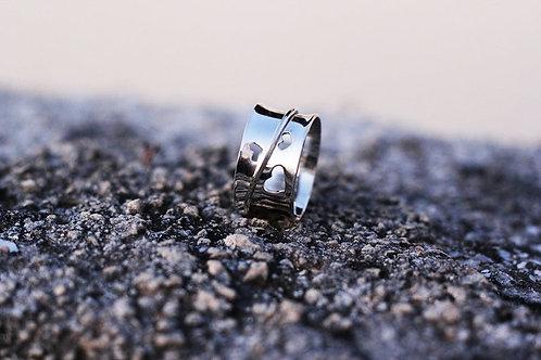 Ασημένιο δαχτυλίδι καρδιές -spinner ring  D59
