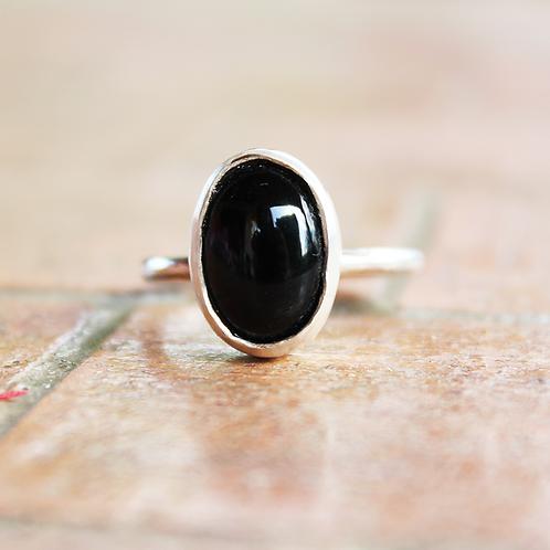 Ασημένιο  δαχτυλίδι με ημιπολύτιμολίθο-Onyx D51