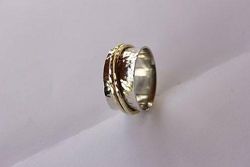Ασήμι και Χρυσός 14 κ -σφυρήλατο δαχτυλίδι -spinner ring  D91