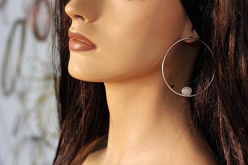Ασημένια σκουλαρίκια μεγάλοι κρίκοι,chalcedony stone  E12