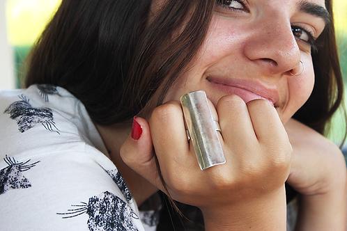 Πολύ μακρύ ασημένιο δαχτυλίδι -minimal   D65