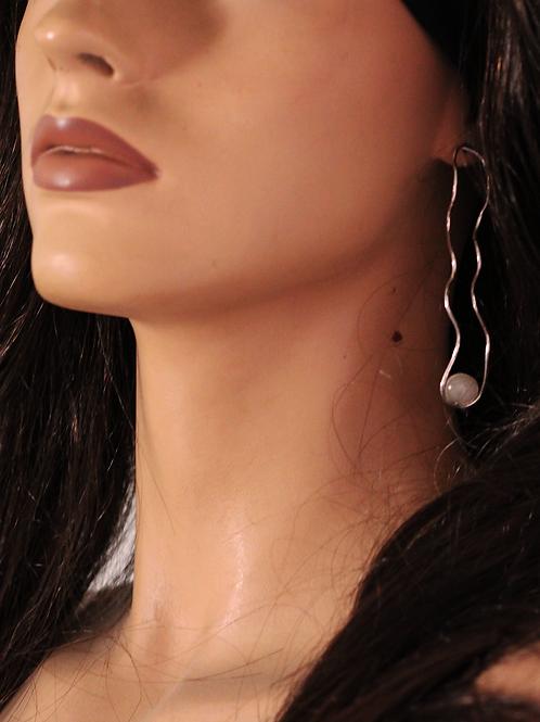 Ασημένια σκουλαρίκια ,chalcedony stone  E10