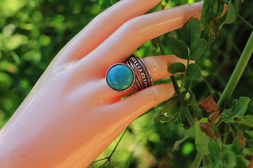 Ασημένιο statement δαχτυλίδι-Turquoise stone  D10
