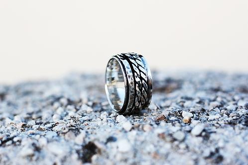 Ασημένιο Unisex δαχτυλίδι -3 bands spinner ring  AD10
