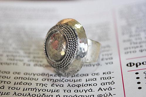 Ασημένιο δαχτυλίδι -τρούλος με φιλιγκράν λεπτομέρειες D56