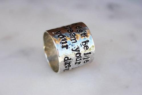 Ασημένιο δαχτυλίδι με κείμενο της  επιλογής σας  D28