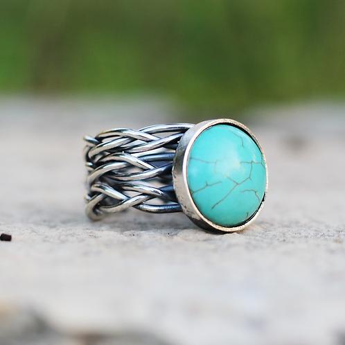 Ασημένιο  δαχτυλίδι με ημιπολύτιμολίθο -Turquoise  D96