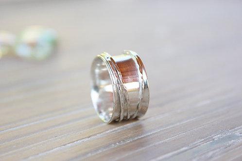 Ασημένιο λιτό minimal δαχτυλίδι -spinner ring D87