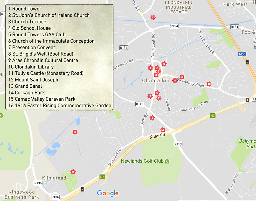 Map of Clondalkin Heritage Trail