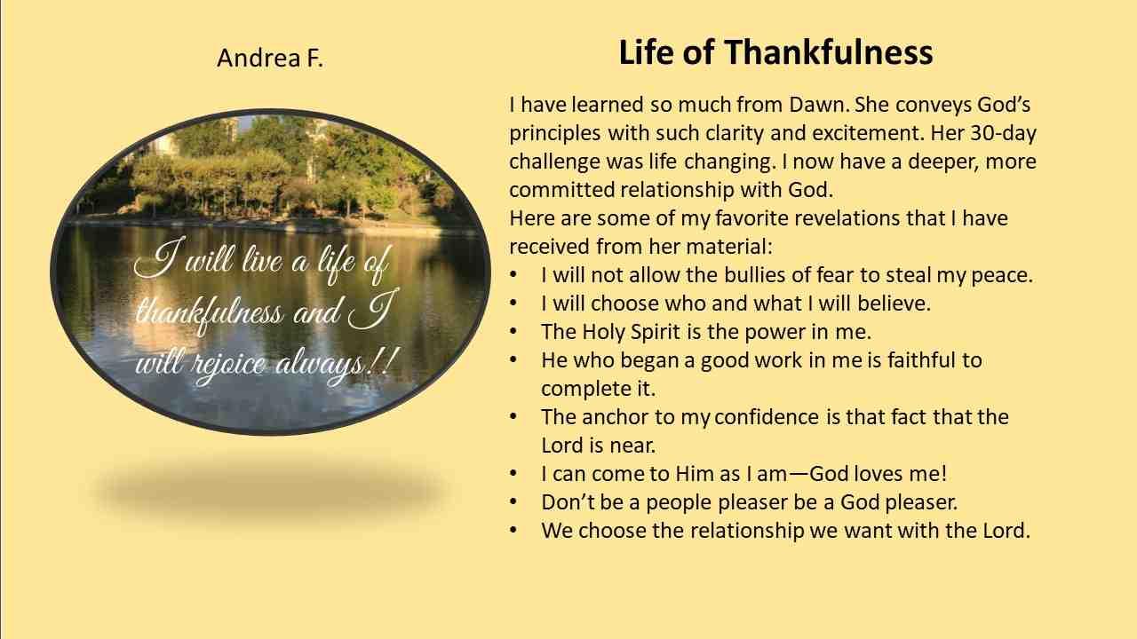 Life of Thankfulness - Andrea F.