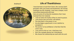 Life of Thankfulness - Andrea F.