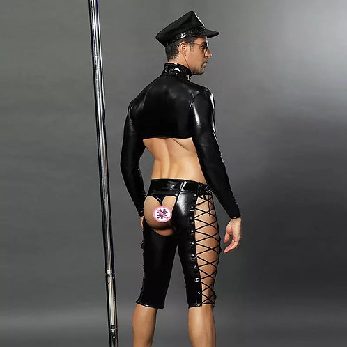 Black Leather Temptation Police #6616