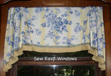 Scalloped valance with gathered tails