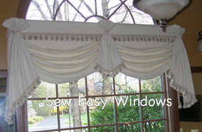 Austrian valance with attached tails & jabot