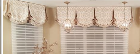 Pleated balloon valances with contrast pleats.