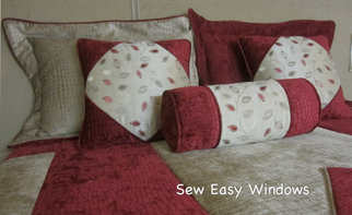 Colorful bedding with coverlet and pillows