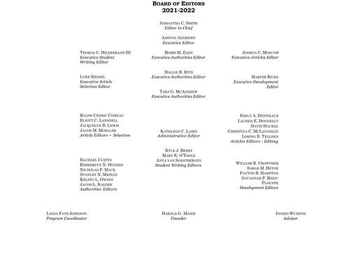 2021-2022 Editorial Board