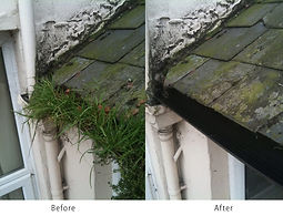 Before and After pic of residential gutter cleaning