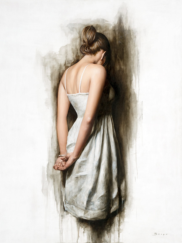 'White Dress' Back, Figurative Art, Figurativism, Artwork, Paintings, Sculptures, Representational Art, Figure Painting,  Human Figure, Modern Art, Figurative Artists, Real objects,