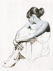 Realistic Paintings, Realistic Art, Realism, Realist, Artwork, Paintings, Painters, Art, Modern Art, Artists, hyperrealism, photorealism, Contemporary Art, Fine Art 'White Dress Study 2'