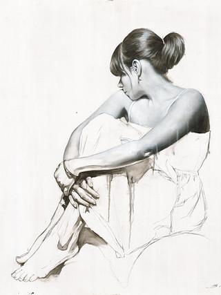Figurative Art, Figurativism, Artwork, Paintings, Sculptures, Representational Art, Figure Painting,  Human Figure, Modern Art, Figurative Artists, Real objects,'White Dress Study 2'