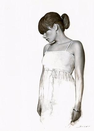 Figurative Art Print, Limited Edition Art Print, Black & White Art Print, Painting of A Girl, White Dress, Minimalist Art,