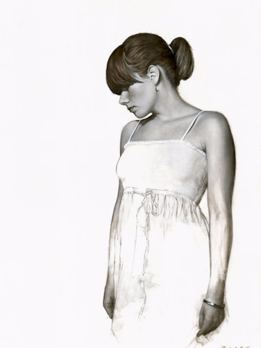 Realistic Paintings, Realistic Art, Realism, Realist, Artwork, Paintings, Painters, Art, Modern Art, Artists, hyperrealism, photorealism, Contemporary Art, Fine Art 'White Dress Study'