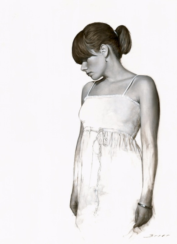 'White Dress Study' Figurative Art, Figurativism, Artwork, Paintings, Sculptures, Representational Art, Figure Painting,  Human Figure, Modern Art, Figurative Artists, Real objects,