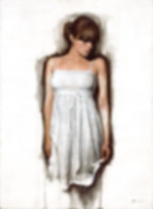 white dress Original Alkyd Oil Painting by UK Figurative Artist Jonathan Brier  Art Broken Realism Artwork