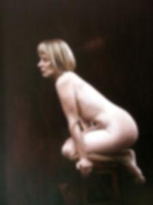 Life study with stool Alkyd Oil Painting UK Figurative Artist Jonathan Brier  Art Broken Realism Artwork