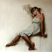 White Dress Profile Brier Art, Modern Realism, Figurative Realism, Abstract Figurative Realism, Figurative Oil Painting, Figurative Artwork, Realist Artwork, Figurative Fine Artwork UK, Contemporary Artwork, Realism Oil Paintings, Figurative Paintings